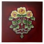 Teja antigua Repro de los rosas de Nouveau del