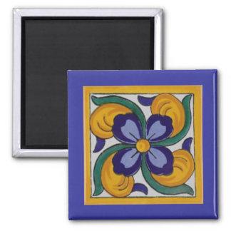 Teja azul amarilla del español de la flor iman para frigorífico