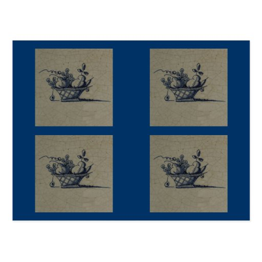 Teja azul anticuaria clásica de Delft - cesta de Postal