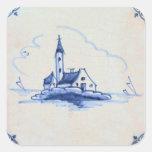 Teja azul anticuaria clásica de Delft - iglesia Calcomania Cuadradas Personalizadas
