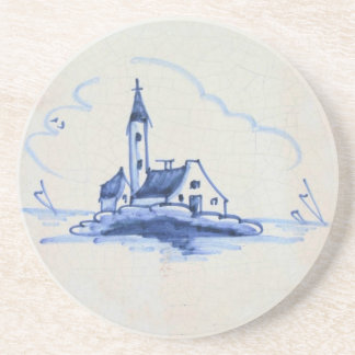 Teja azul anticuaria clásica de Delft - iglesia Posavasos Para Bebidas