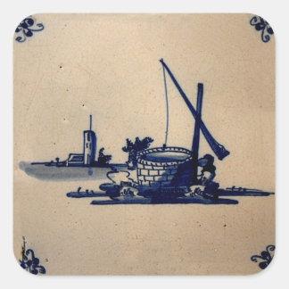 Teja azul anticuaria clásica de Delft - pozo de Calcomanía Cuadrada Personalizada