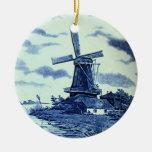 Teja azul antigua de Delft del vintage - molino de Ornamentos De Reyes