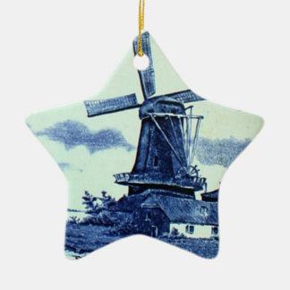 Teja azul antigua de Delft del vintage - molino de Adorno Para Reyes