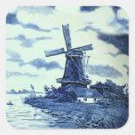 Teja azul antigua de Delft del vintage - molino de Calcomania Cuadradas Personalizada