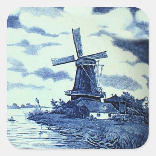 Teja azul antigua de Delft del vintage - molino de Pegatina Cuadrada