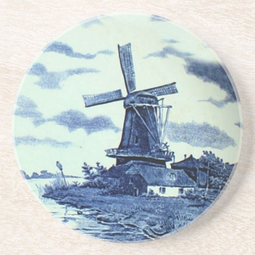Teja azul antigua de Delft del vintage - molino de Posavasos Para Bebidas