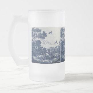 Teja azul antigua de Delft - ganado y pájaros Jarra De Cerveza Esmerilada