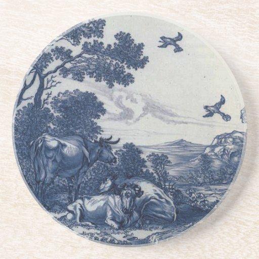 Teja azul antigua de Delft - ganado y pájaros Posavaso Para Bebida