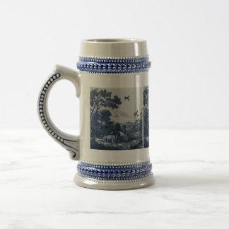 Teja azul antigua de Delft - ganado y pájaros Taza De Café