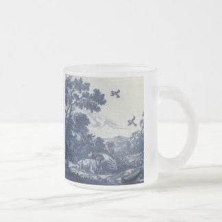 Teja azul antigua de Delft - ganado y pájaros Taza De Café Esmerilada