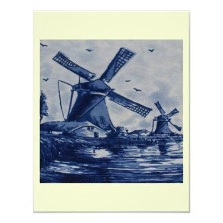 Teja azul antigua de Delft - molinoes de viento Invitacion Personal