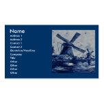 Teja azul antigua de Delft - molinoes de viento po Plantilla De Tarjeta De Visita