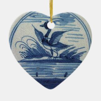 Teja azul antigua de Delft - pato en el agua Ornamentos De Navidad