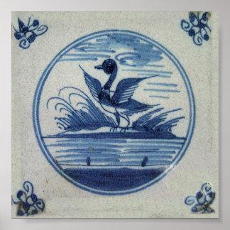 Teja azul antigua de Delft - pato en el agua Impresiones