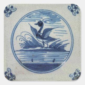Teja azul antigua de Delft - pato en el agua Pegatinas Cuadradas Personalizadas