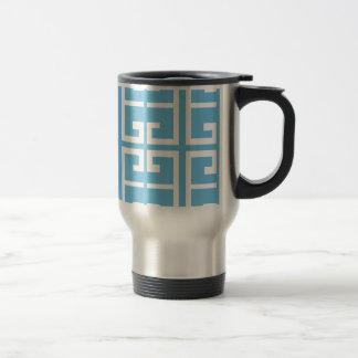 Teja azul clara y blanca taza térmica