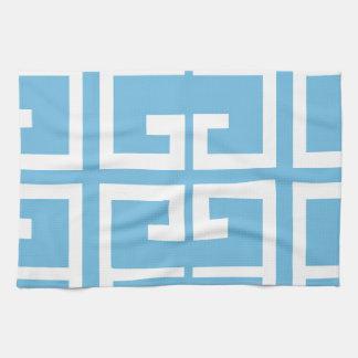 Teja azul clara y blanca toallas de cocina