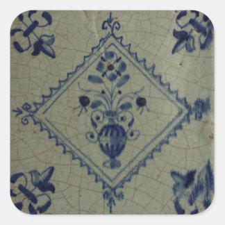 Teja azul de Delft - florero con las flores y el Colcomanias Cuadradases