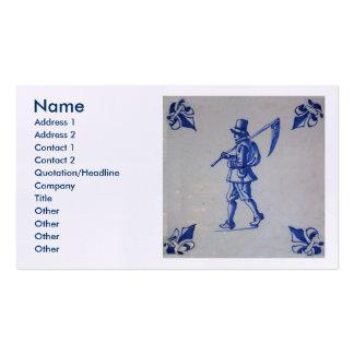 Teja azul de Delft - guadaña u hoz que lleva del Tarjetas De Visita