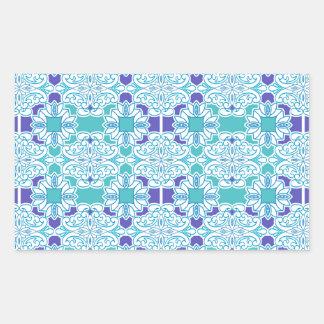 Teja azul del damasco pegatina rectangular