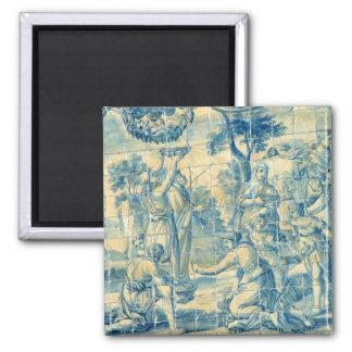 Teja azul imán de frigorifico
