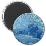Teja azul imán redondo 5 cm