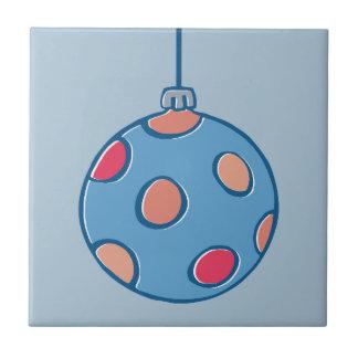 Teja azul redonda de las bolas retras del navidad