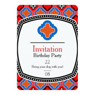 """Teja azul roja invitación 5"""" x 7"""""""
