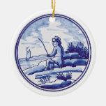 Teja azul tradicional holandesa adorno de reyes