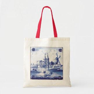 Teja azul tradicional holandesa bolsa tela barata