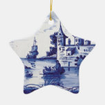 Teja azul tradicional holandesa ornamento de navidad