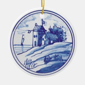 Teja azul tradicional holandesa adorno