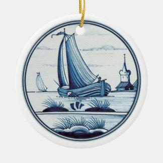 Teja azul tradicional holandesa ornaments para arbol de navidad