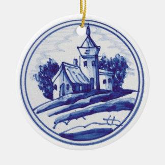 Teja azul tradicional holandesa ornamento para arbol de navidad