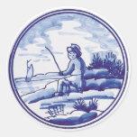 Teja azul tradicional holandesa etiqueta redonda