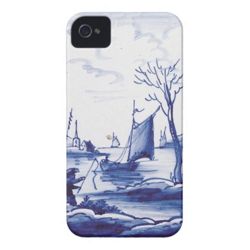 Teja azul tradicional holandesa iPhone 4 Case-Mate carcasas