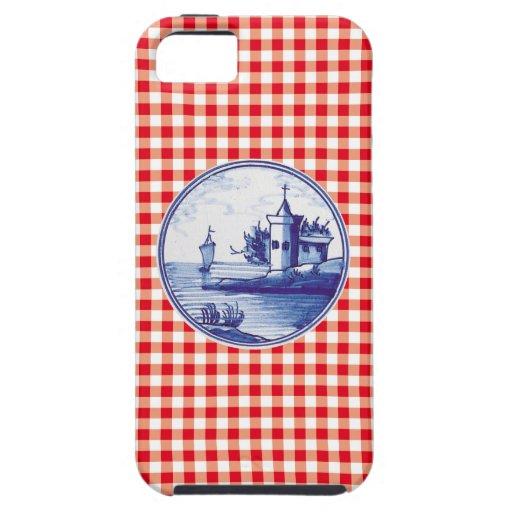 Teja azul tradicional holandesa iPhone 5 Case-Mate cárcasa