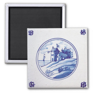 Teja azul tradicional holandesa imán cuadrado