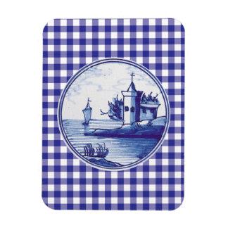 Teja azul tradicional holandesa imán rectangular