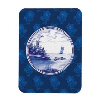 Teja azul tradicional holandesa iman rectangular