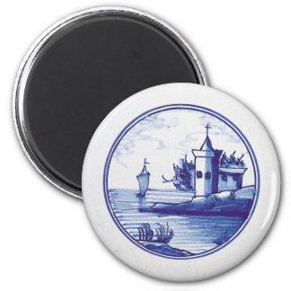 Teja azul tradicional holandesa imán redondo 5 cm