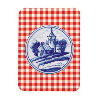 Teja azul tradicional holandesa imanes rectangulares
