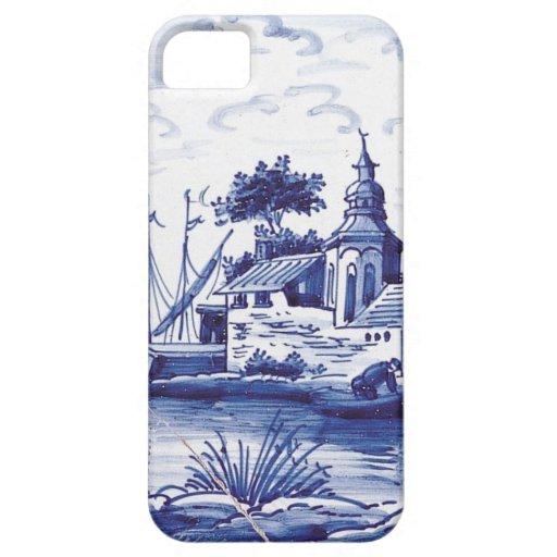 Teja azul tradicional holandesa iPhone 5 carcasa