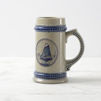 Teja azul tradicional holandesa jarra de cerveza