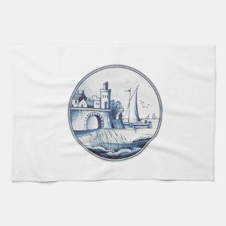 Teja azul tradicional holandesa toalla