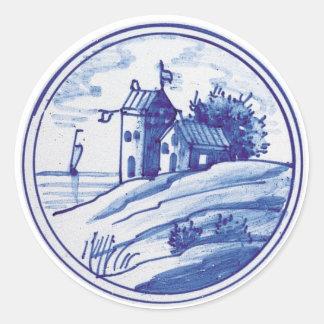 Teja azul tradicional holandesa etiquetas