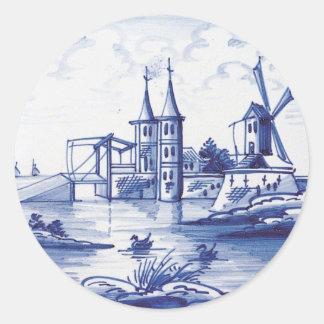 Teja azul tradicional holandesa pegatinas