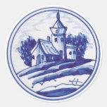 Teja azul tradicional holandesa pegatinas redondas