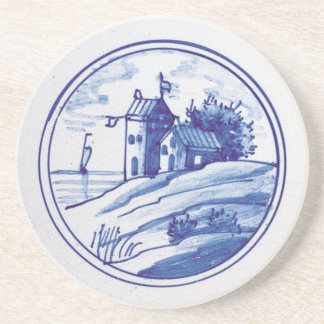 Teja azul tradicional holandesa posavasos diseño